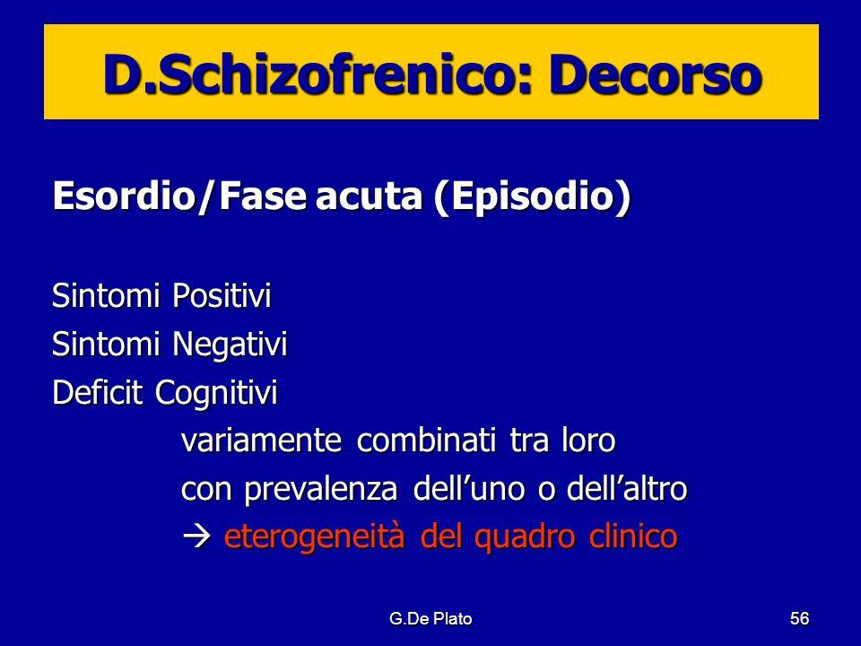 G.De Plato56 D.Schizofrenico: Decorso Esordio/Fase acuta (Episodio) Sintomi Positivi Sintomi Negativi Deficit Cognitivi variamente combinati tra loro