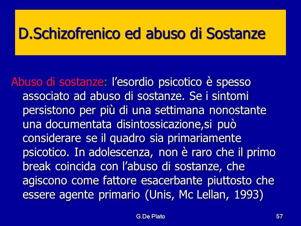 G.De Plato57 Abuso di sostanze: lesordio psicotico è spesso associato ad abuso di sostanze. Se i sintomi persistono per più di una settimana nonostant