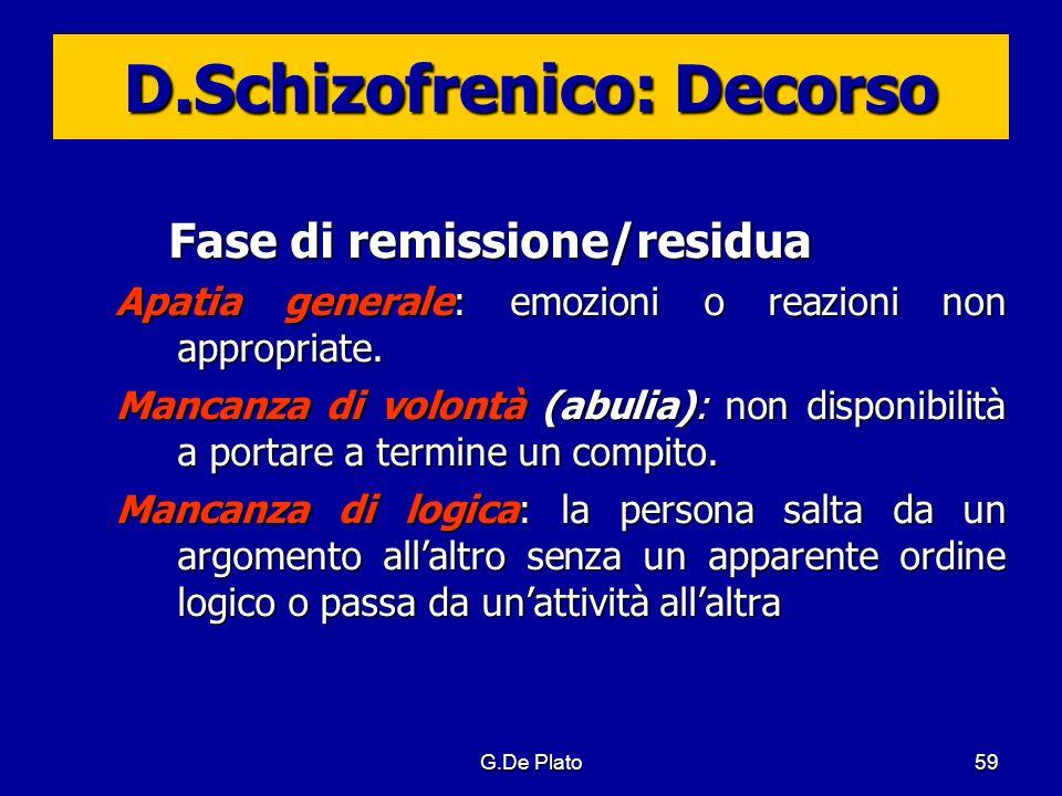 G.De Plato59 D.Schizofrenico: Decorso Fase di remissione/residua Apatia generale: emozioni o reazioni non appropriate. Mancanza di volontà (abulia): n