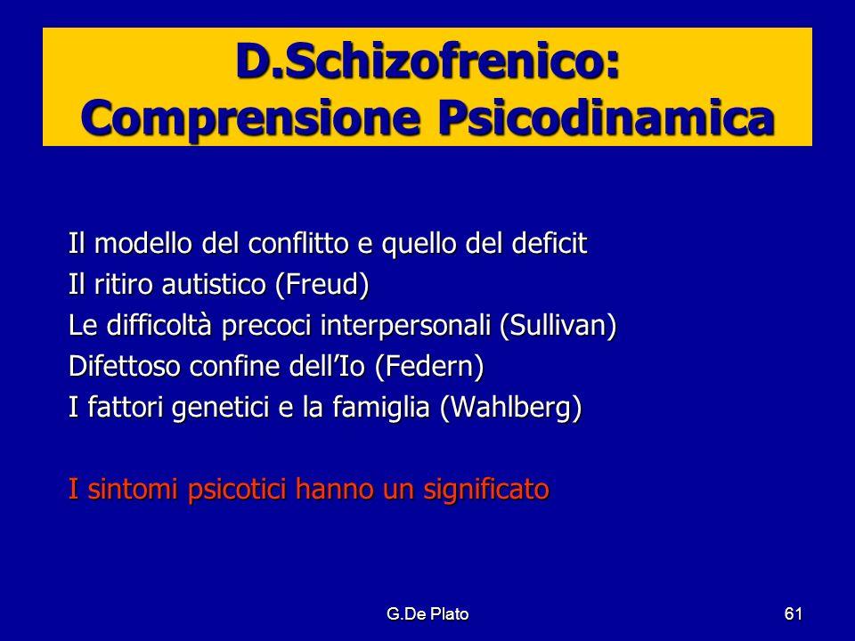 G.De Plato61 D.Schizofrenico: Comprensione Psicodinamica Il modello del conflitto e quello del deficit Il ritiro autistico (Freud) Le difficoltà preco