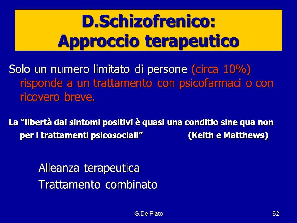 G.De Plato62 D.Schizofrenico: Approccio terapeutico Solo un numero limitato di persone (circa 10%) risponde a un trattamento con psicofarmaci o con ri