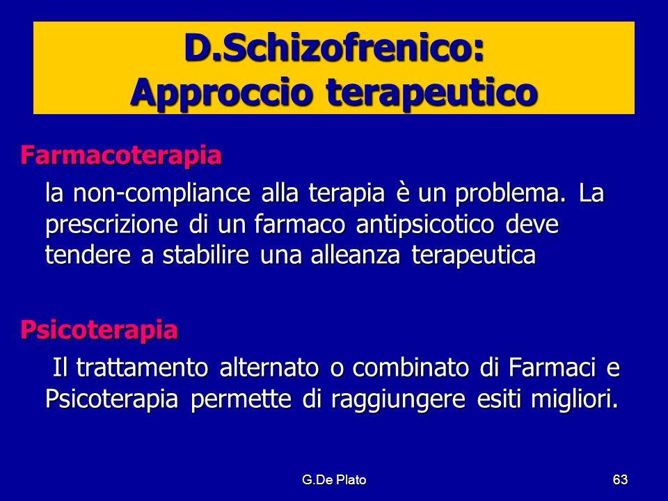 G.De Plato63 D.Schizofrenico: Approccio terapeutico Farmacoterapia la non-compliance alla terapia è un problema. La prescrizione di un farmaco antipsi