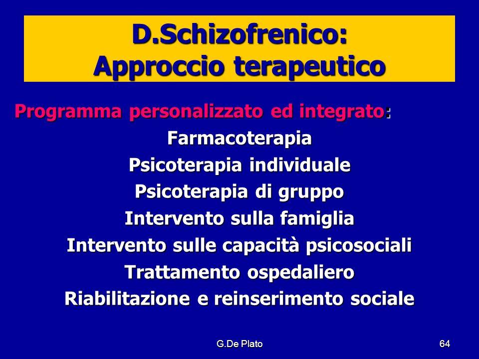 G.De Plato64 D.Schizofrenico: Approccio terapeutico Programma personalizzato ed integrato: Farmacoterapia Psicoterapia individuale Psicoterapia di gru