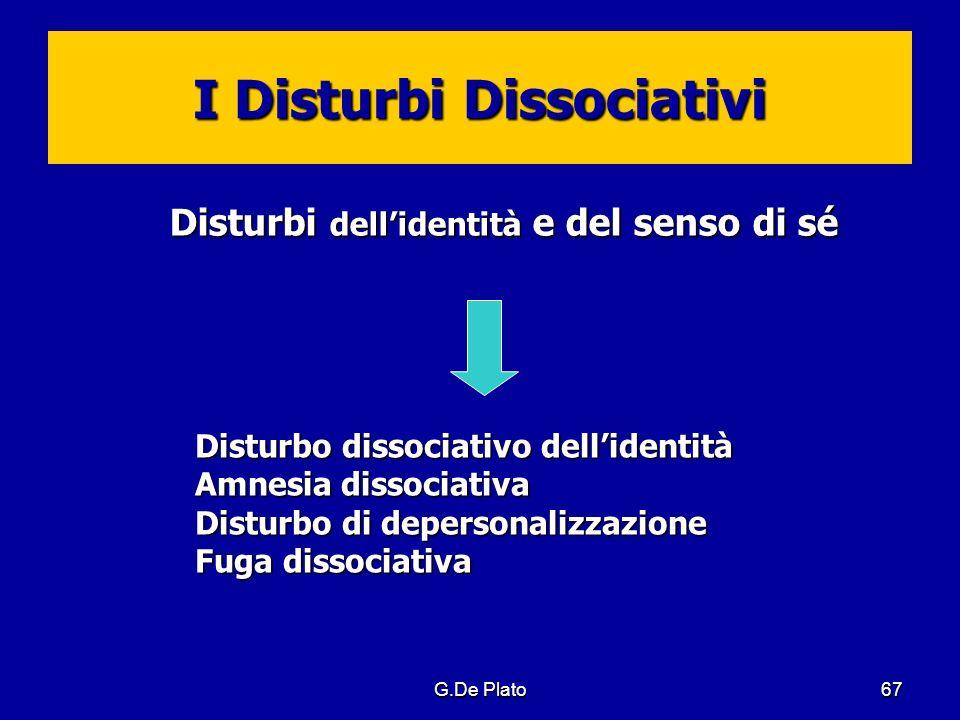 G.De Plato67 I Disturbi Dissociativi Disturbi dellidentità e del senso di sé Disturbi dellidentità e del senso di sé Disturbo dissociativo dellidentit
