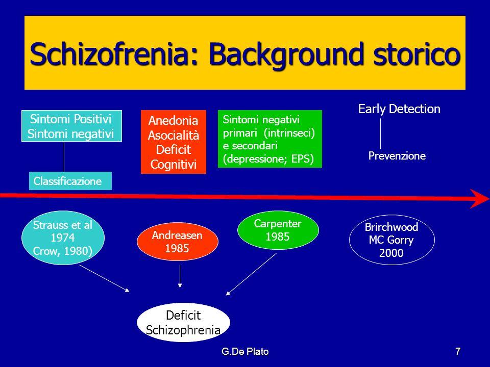 G.De Plato58 D.Schizofrenico: Decorso Remissione Diverso da guarigione (restitutio ad integrum) Fase di plateau (dopo la fase di acuzie, succede poco,descritta come fase di riorganizzazione, del tenersi insieme) Esiti variegati: persistenza di sintomi positivi (allucinazioni uditive) non responsivi al trattamento sintomi negativi primari e secondari