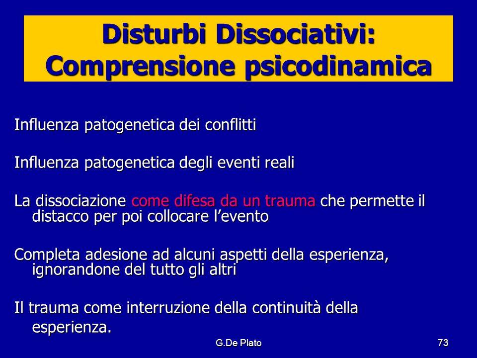 G.De Plato73 Disturbi Dissociativi: Comprensione psicodinamica Influenza patogenetica dei conflitti Influenza patogenetica degli eventi reali La disso