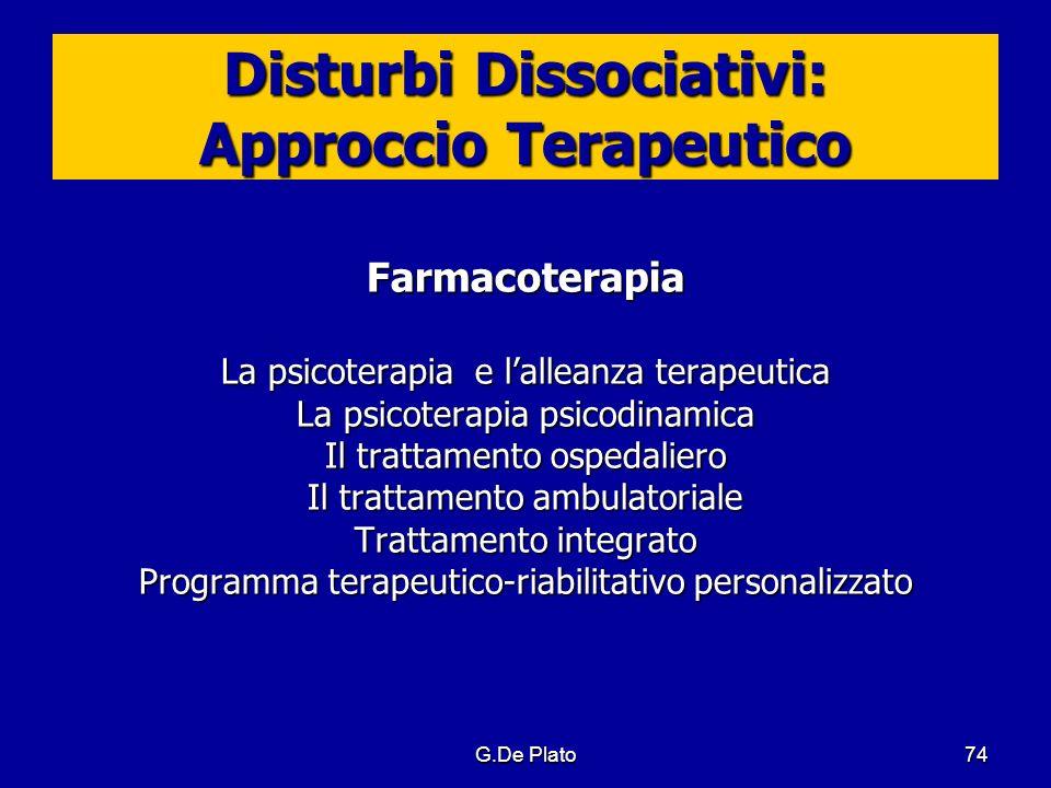 G.De Plato74 Disturbi Dissociativi: Approccio Terapeutico Farmacoterapia La psicoterapia e lalleanza terapeutica La psicoterapia psicodinamica Il trat