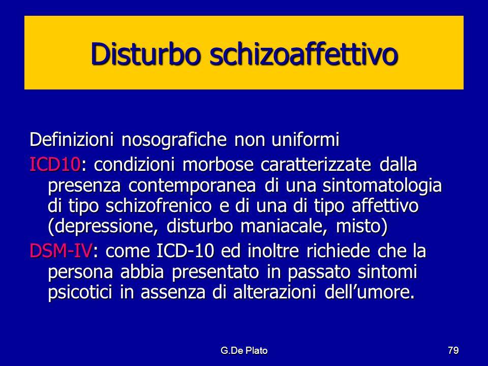 G.De Plato79 Disturbo schizoaffettivo Definizioni nosografiche non uniformi ICD10: condizioni morbose caratterizzate dalla presenza contemporanea di u