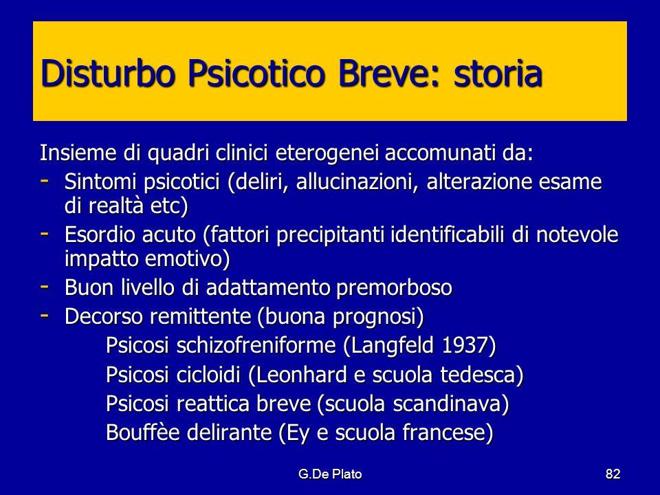 G.De Plato82 Disturbo Psicotico Breve: storia Insieme di quadri clinici eterogenei accomunati da: - Sintomi psicotici (deliri, allucinazioni, alterazi