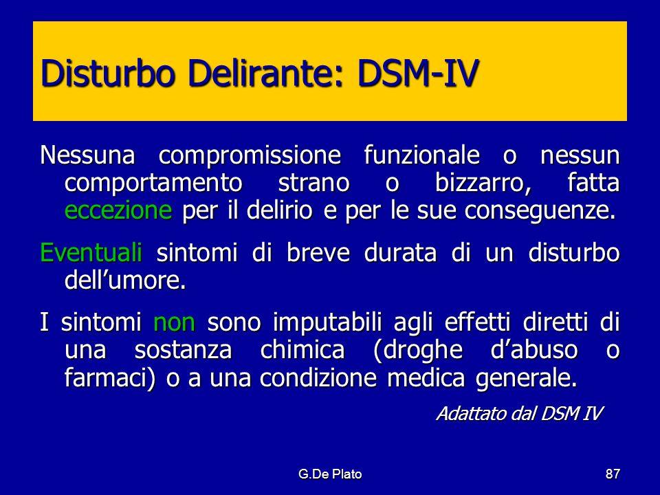 G.De Plato87 Disturbo Delirante: DSM-IV Nessuna compromissione funzionale o nessun comportamento strano o bizzarro, fatta eccezione per il delirio e p