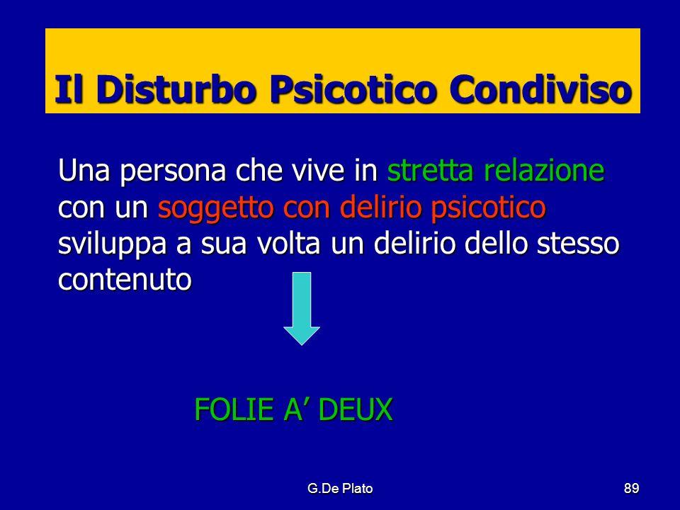G.De Plato 89 Il Disturbo Psicotico Condiviso Una persona che vive in stretta relazione con un soggetto con delirio psicotico sviluppa a sua volta un