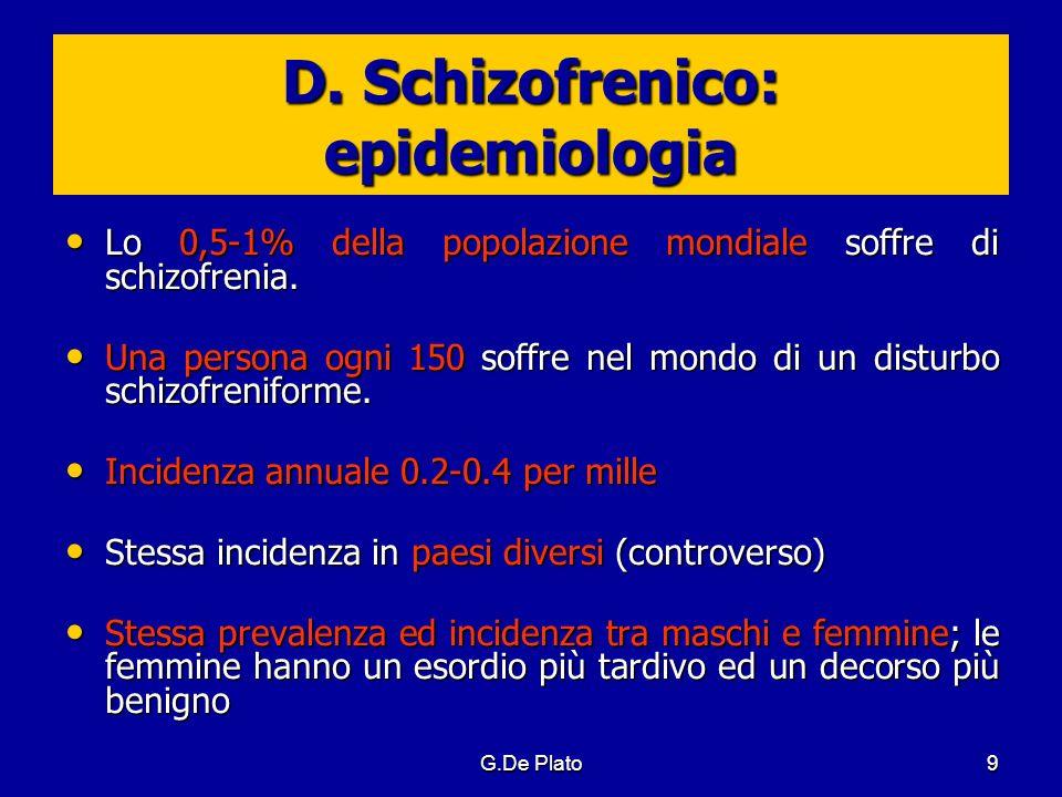 G.De Plato9 D. Schizofrenico: epidemiologia Lo 0,5-1% della popolazione mondiale soffre di schizofrenia. Lo 0,5-1% della popolazione mondiale soffre d