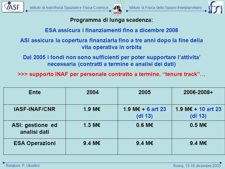 Istituto di Astrofisica Spaziale e Fisica CosmicaIstituto di Fisica dello Spazio Interplanetario Roma, 15-16 dicembre 2003 Relatore: P. Ubertini Ente