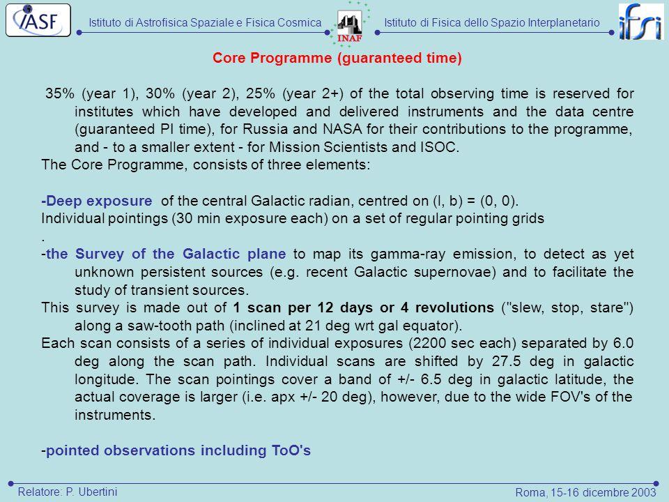 Istituto di Astrofisica Spaziale e Fisica CosmicaIstituto di Fisica dello Spazio Interplanetario Roma, 15-16 dicembre 2003 Relatore: P. Ubertini Core