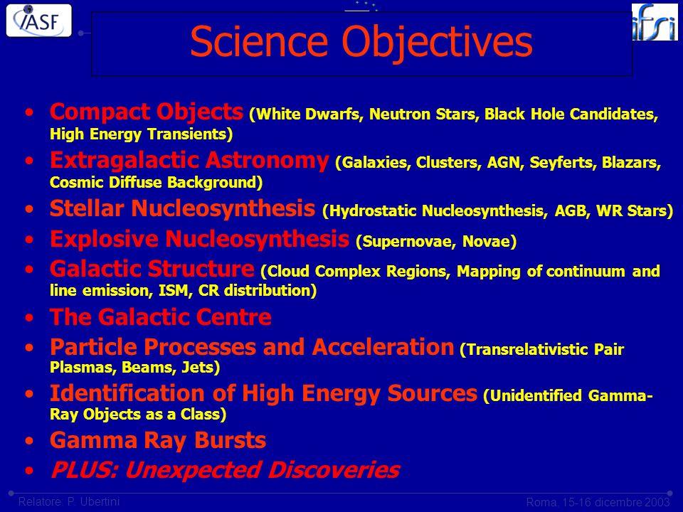 Istituto di Astrofisica Spaziale e Fisica CosmicaIstituto di Fisica dello Spazio Interplanetario Roma, 15-16 dicembre 2003 Relatore: P. Ubertini Scien