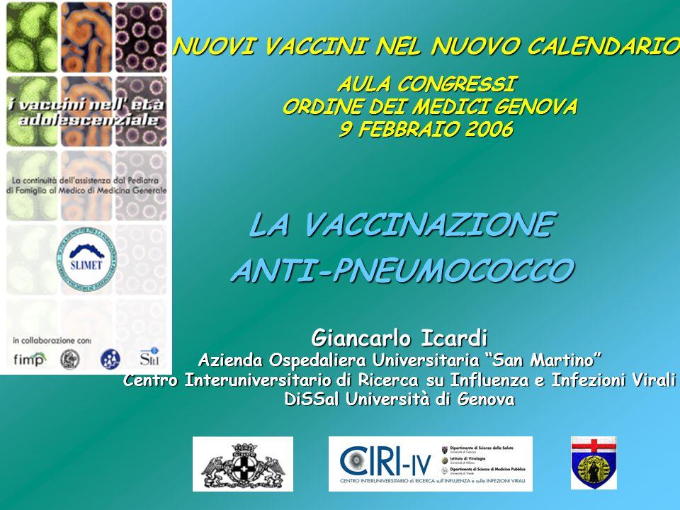 LA VACCINAZIONE ANTI-PNEUMOCOCCO Giancarlo Icardi Azienda Ospedaliera Universitaria San Martino Centro Interuniversitario di Ricerca su Influenza e In
