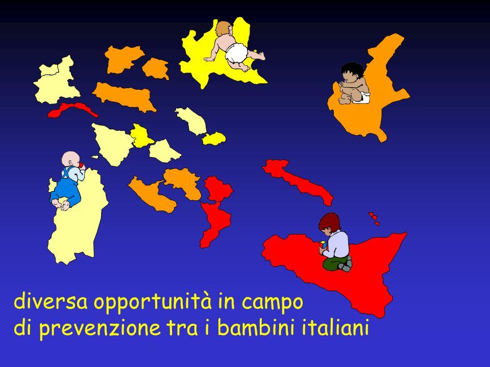 diversa opportunità in campo di prevenzione tra i bambini italiani