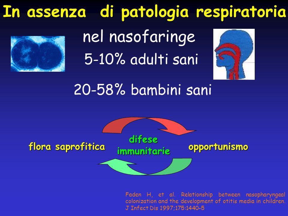 nel nasofaringe 5-10% adulti sani 20-58% bambini sani In assenza di patologia respiratoria flora saprofitica Faden H, et al. Relationship between naso