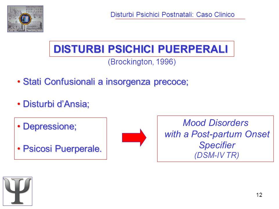 12 Disturbi Psichici Postnatali: Caso Clinico DISTURBI PSICHICI PUERPERALI (Brockington, 1996) Stati Confusionali a insorgenza precoce; Stati Confusio