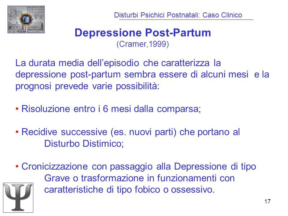 17 Disturbi Psichici Postnatali: Caso Clinico Depressione Post-Partum (Cramer,1999) La durata media dellepisodio che caratterizza la depressione post-