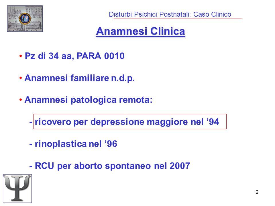 2 Disturbi Psichici Postnatali: Caso Clinico Anamnesi Clinica Pz di 34 aa, PARA 0010 Anamnesi familiare n.d.p. Anamnesi patologica remota: - ricovero