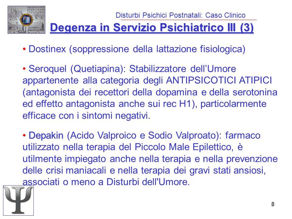 8 Disturbi Psichici Postnatali: Caso Clinico Degenza in Servizio Psichiatrico III (3) Dostinex (soppressione della lattazione fisiologica) Seroquel (Q