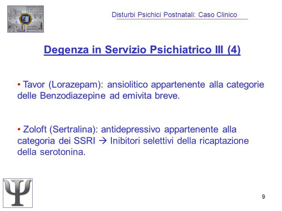 9 Disturbi Psichici Postnatali: Caso Clinico Degenza in Servizio Psichiatrico III (4) Tavor (Lorazepam): ansiolitico appartenente alla categorie delle