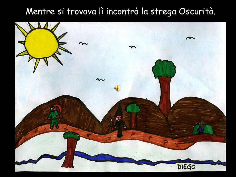 Un giorno lo gnomo Bocconcino, che era molto goloso, andò in montagna a cercare del cibo.