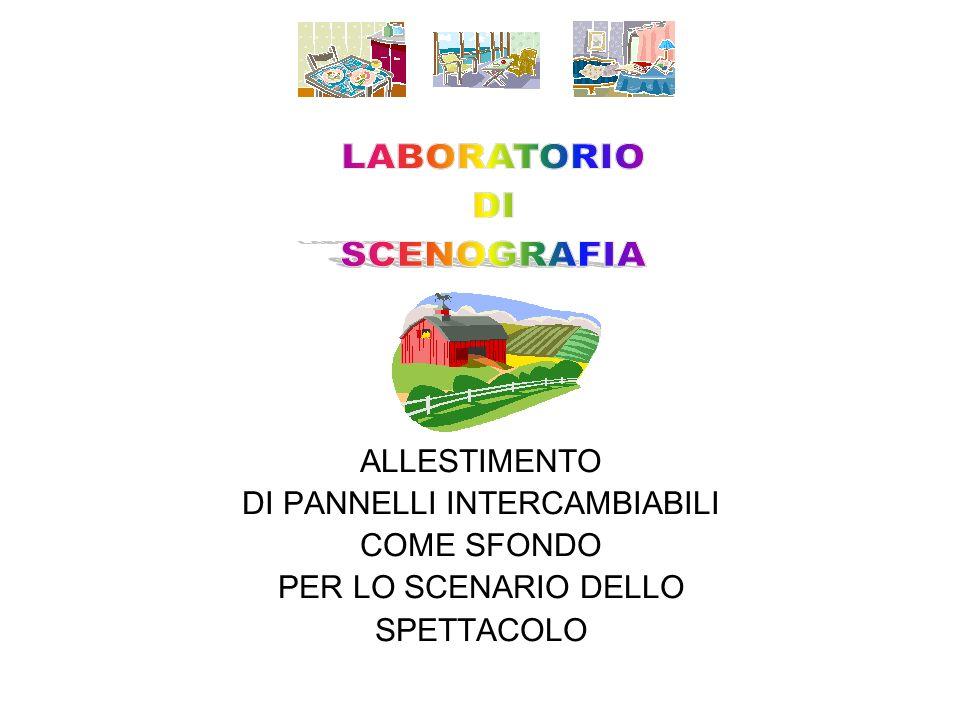ALLESTIMENTO DI PANNELLI INTERCAMBIABILI COME SFONDO PER LO SCENARIO DELLO SPETTACOLO