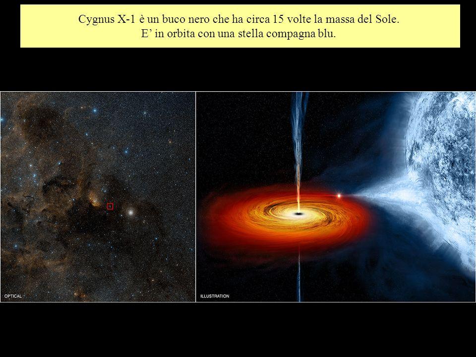 Cygnus X-1 è un buco nero che ha circa 15 volte la massa del Sole. E in orbita con una stella compagna blu.