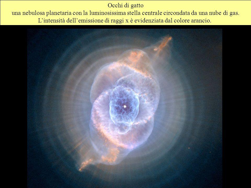 Occhi di gatto una nebulosa planetaria con la luminosissima stella centrale circondata da una nube di gas. Lintensità dellemissione di raggi x è evide