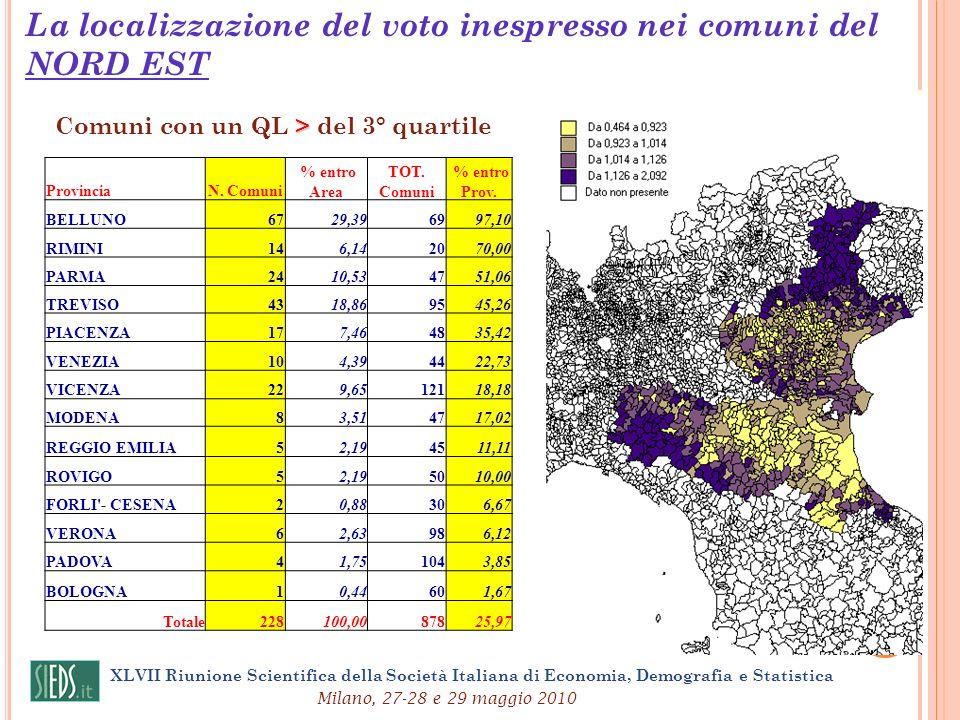 XLVII Riunione Scientifica della Società Italiana di Economia, Demografia e Statistica Milano, 27-28 e 29 maggio 2010 La localizzazione del voto inesp