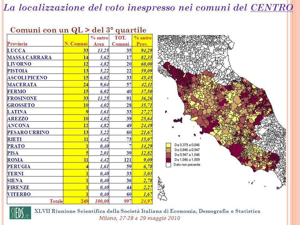 XLVII Riunione Scientifica della Società Italiana di Economia, Demografia e Statistica Milano, 27-28 e 29 maggio 2010 > Comuni con un QL > del 3° quar