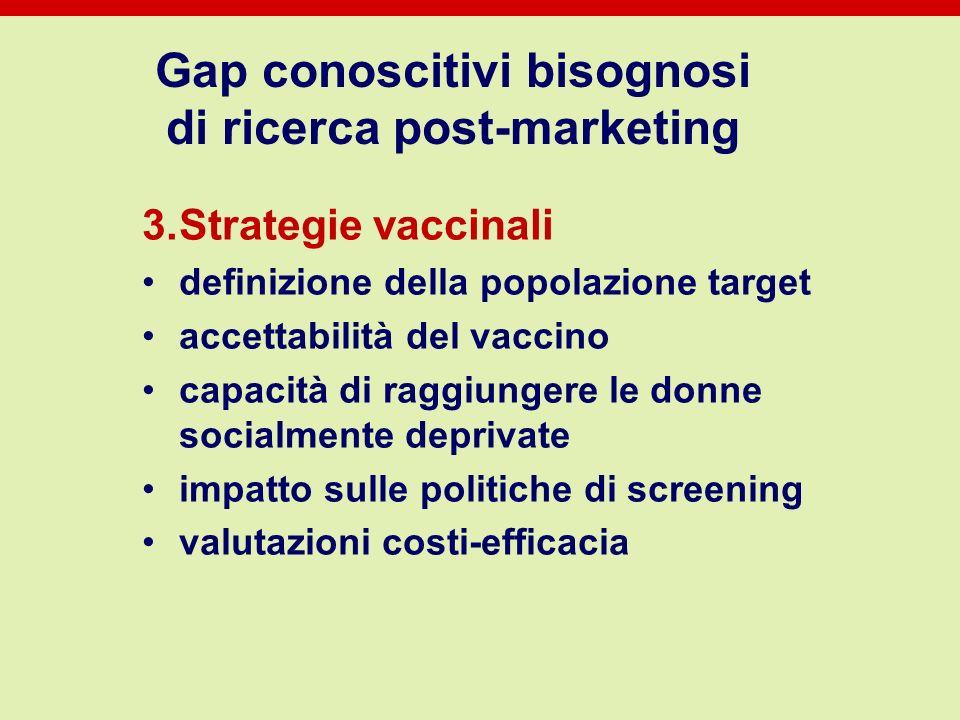 Gap conoscitivi bisognosi di ricerca post-marketing 3.Strategie vaccinali definizione della popolazione target accettabilità del vaccino capacità di r