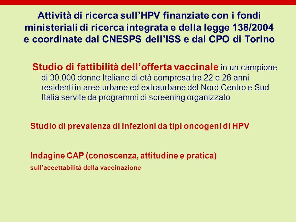 Attività di ricerca sullHPV finanziate con i fondi ministeriali di ricerca integrata e della legge 138/2004 e coordinate dal CNESPS dellISS e dal CPO
