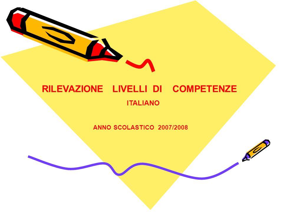 RILEVAZIONE LIVELLI DI COMPETENZE ITALIANO ANNO SCOLASTICO 2007/2008