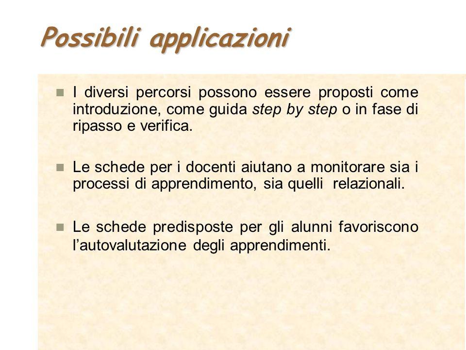 Possibili applicazioni I diversi percorsi possono essere proposti come introduzione, come guida step by step o in fase di ripasso e verifica. Le sched