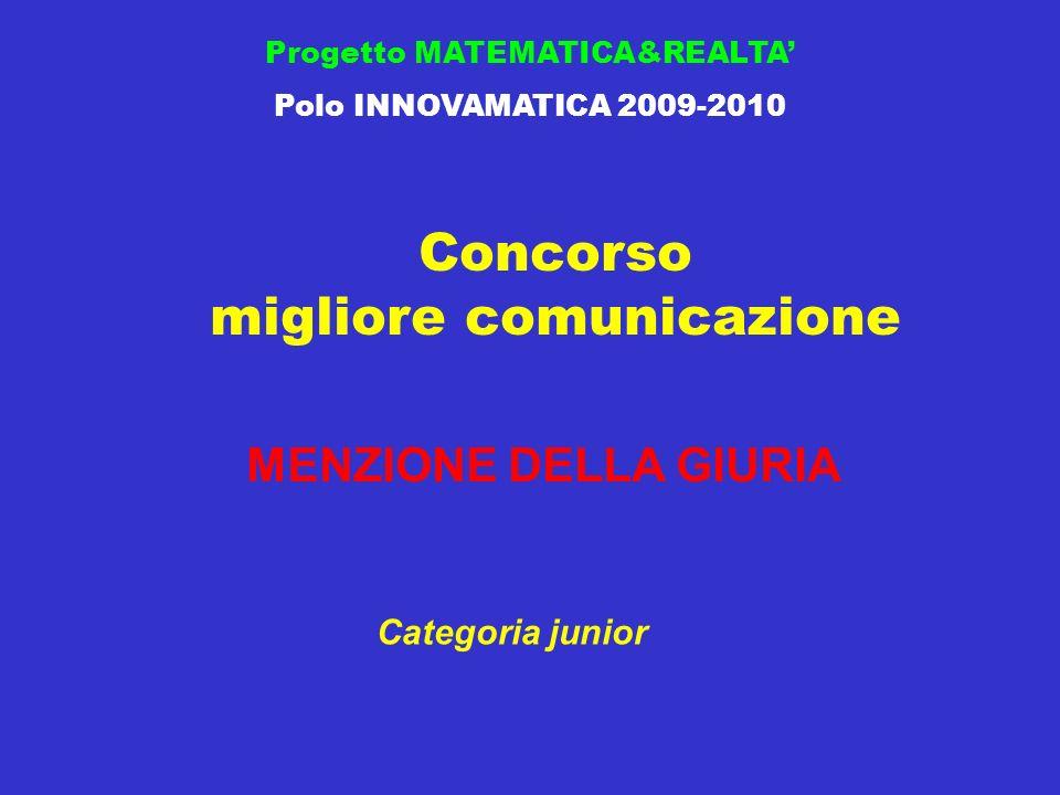 Concorso migliore comunicazione Progetto MATEMATICA&REALTA Polo INNOVAMATICA 2009-2010 MENZIONE DELLA GIURIA Categoria junior