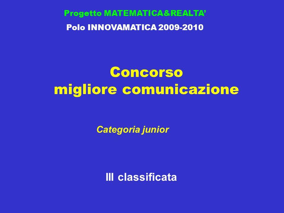 Concorso migliore comunicazione Progetto MATEMATICA&REALTA Polo INNOVAMATICA 2009-2010 III classificata Categoria junior
