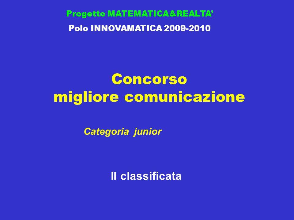 Concorso migliore comunicazione Progetto MATEMATICA&REALTA Polo INNOVAMATICA 2009-2010 II classificata Categoria junior