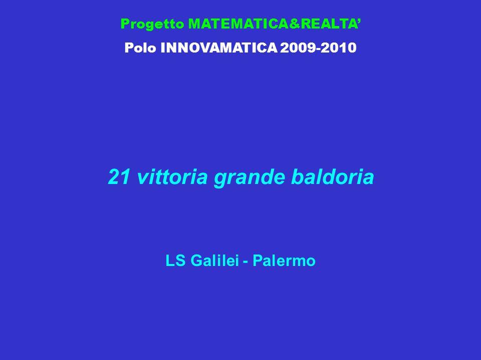 Progetto MATEMATICA&REALTA Polo INNOVAMATICA 2009-2010 21 vittoria grande baldoria LS Galilei - Palermo