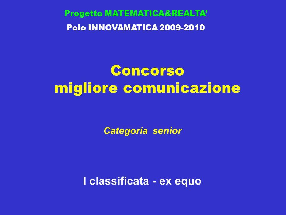 Concorso migliore comunicazione Progetto MATEMATICA&REALTA Polo INNOVAMATICA 2009-2010 I classificata - ex equo Categoria senior