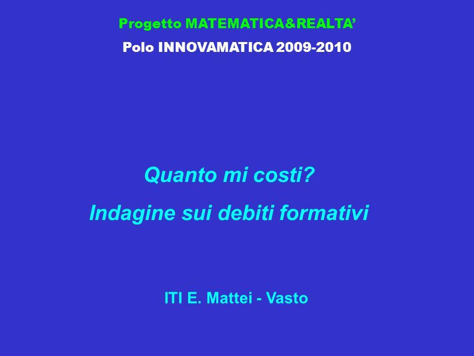 Progetto MATEMATICA&REALTA Polo INNOVAMATICA 2009-2010 Quanto mi costi.