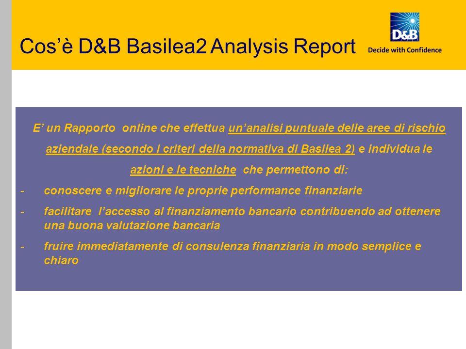 Rapporto che effettua unanalisi puntuale delle aree di rischio aziendale (secondo i criteri della normativa di Basilea 2 e di individuare: Azioni (cosa fare) Tecniche (come fare) necessarie per supportare e facilitare il processo di valutazione del merito creditizio aziendale ai sensi della normativa di Basilea2 e, quindi, laccesso al finanziamento Cosa fa D&B Basilea2 Analysis Report.