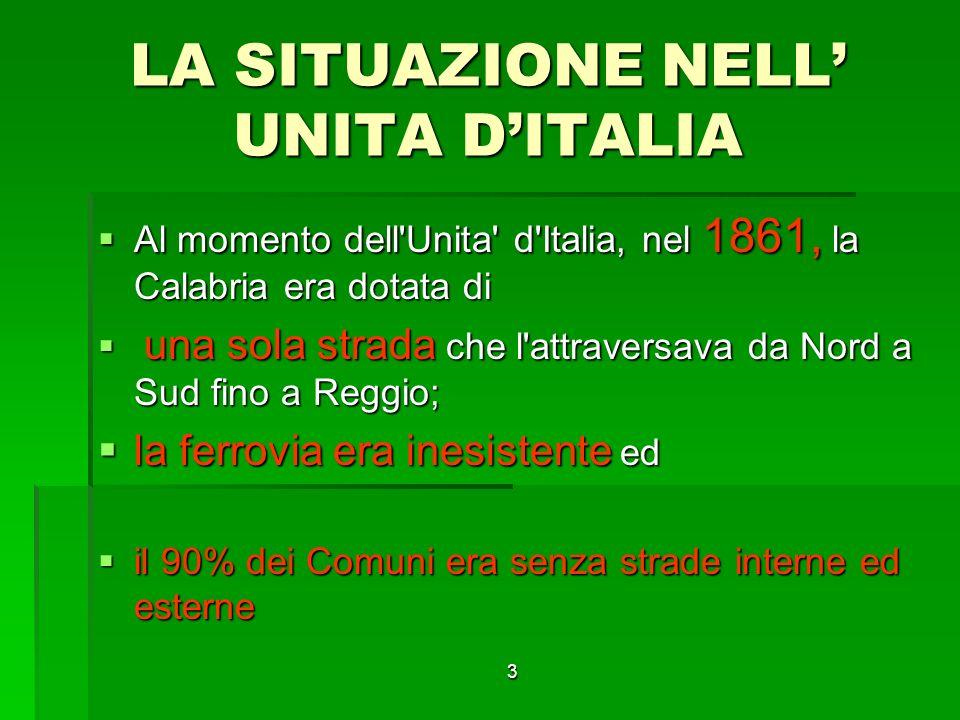 3 LA SITUAZIONE NELL UNITA DITALIA Al momento dell Unita d Italia, nel 1861, la Calabria era dotata di Al momento dell Unita d Italia, nel 1861, la Calabria era dotata di una sola strada che l attraversava da Nord a Sud fino a Reggio; una sola strada che l attraversava da Nord a Sud fino a Reggio; la ferrovia era inesistente ed la ferrovia era inesistente ed il 90% dei Comuni era senza strade interne ed esterne il 90% dei Comuni era senza strade interne ed esterne