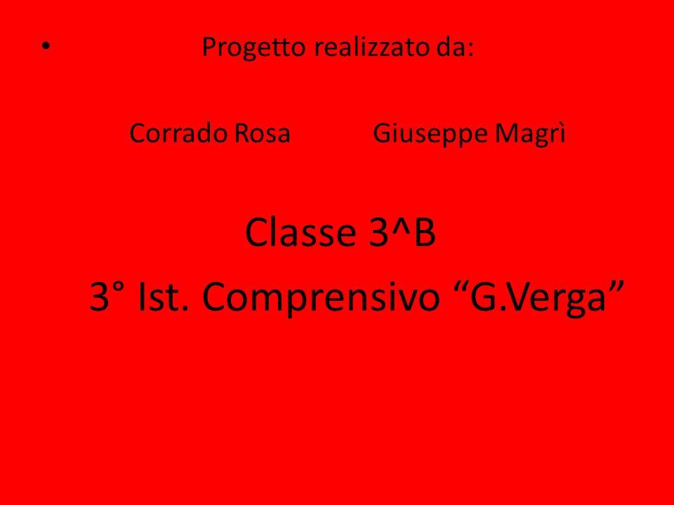 Progetto realizzato da: Corrado Rosa Giuseppe Magrì Classe 3^B 3° Ist. Comprensivo G.Verga