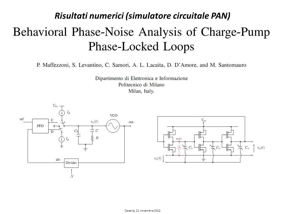 Risultati numerici (simulatore circuitale PAN) Cesena, 21 novembre 2012