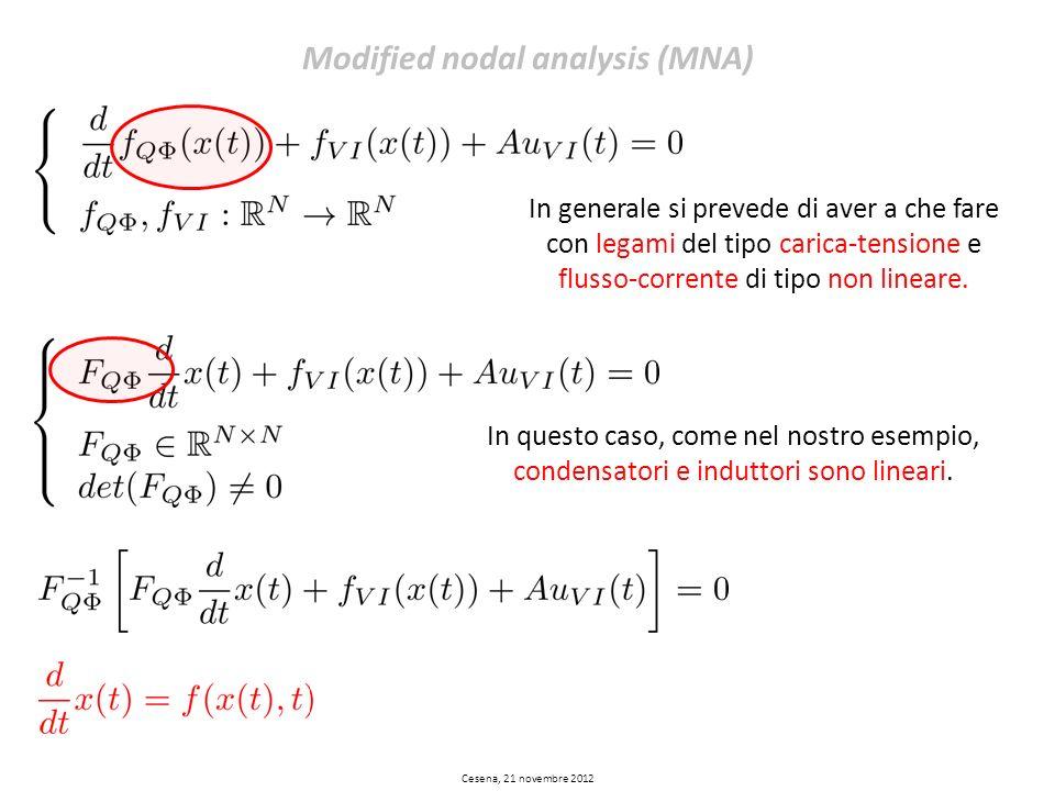 Cesena, 21 novembre 2012 Modified nodal analysis (MNA) In generale si prevede di aver a che fare con legami del tipo carica-tensione e flusso-corrente