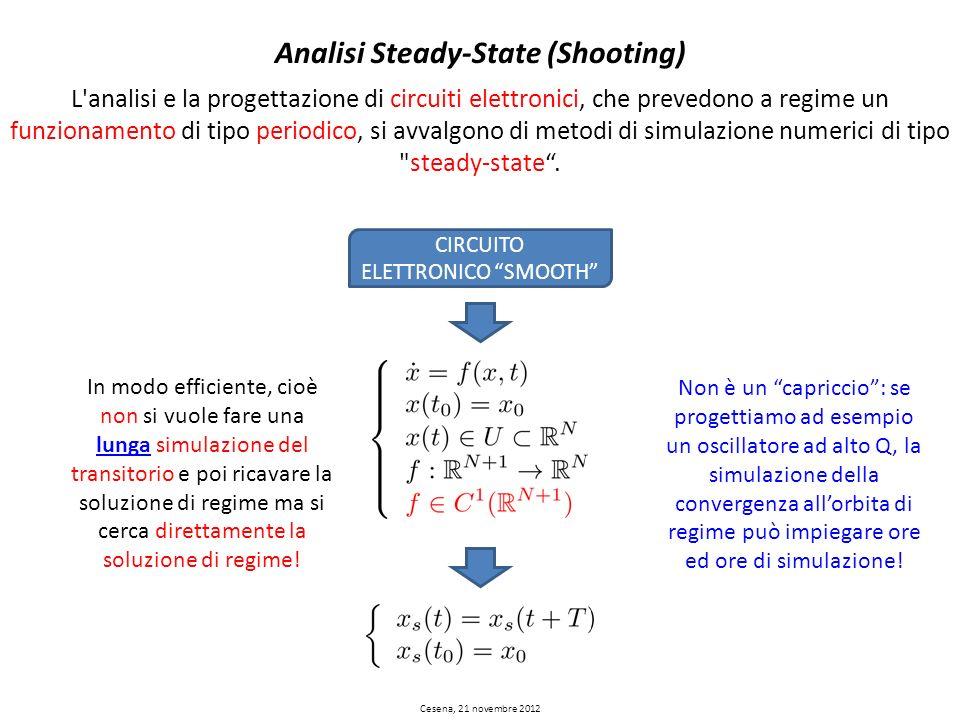 Analisi Steady-State (Shooting) L'analisi e la progettazione di circuiti elettronici, che prevedono a regime un funzionamento di tipo periodico, si av