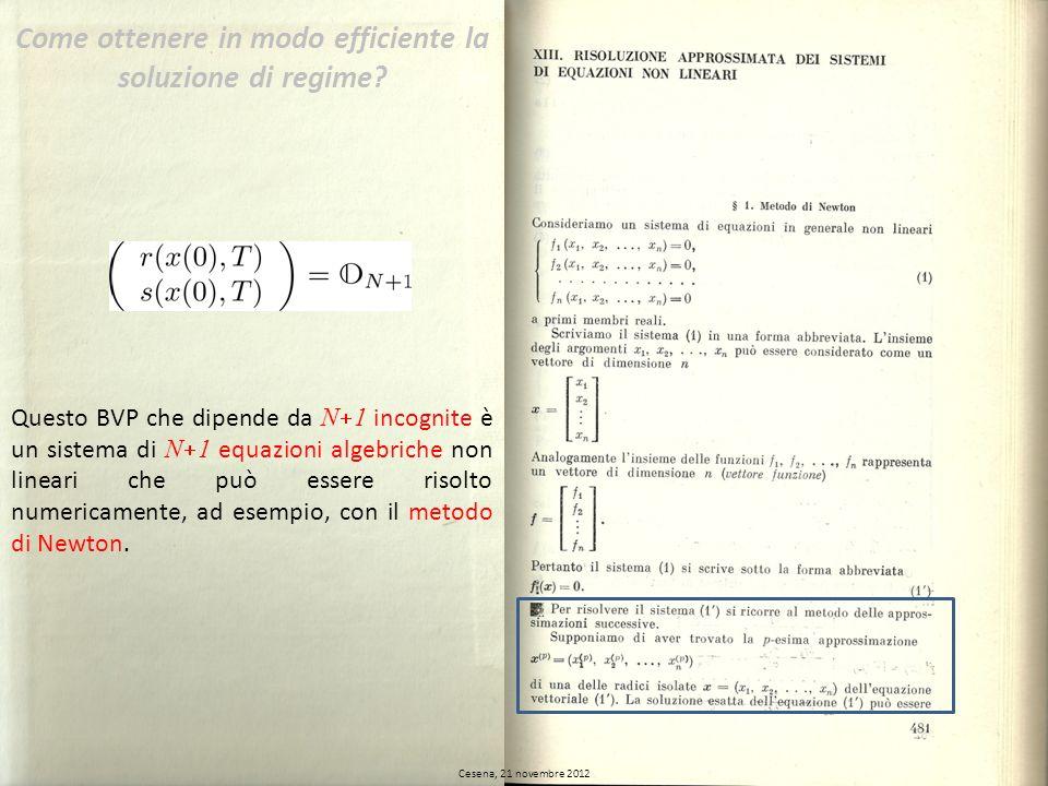 Cesena, 21 novembre 2012 Questo BVP che dipende da N 1 incognite è un sistema di N 1 equazioni algebriche non lineari che può essere risolto numericam